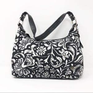 The Sak Leather Trim Bag Modern Floral Design BW
